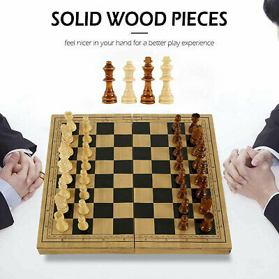 29x29cm Large Chess Wooden Set Folding Chessboard Magnetic Pieces Wood Board • 15.99£