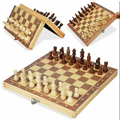 Large Wooden Magnetic Chess Set Folding Chessboard International Chess Board • 16.99£