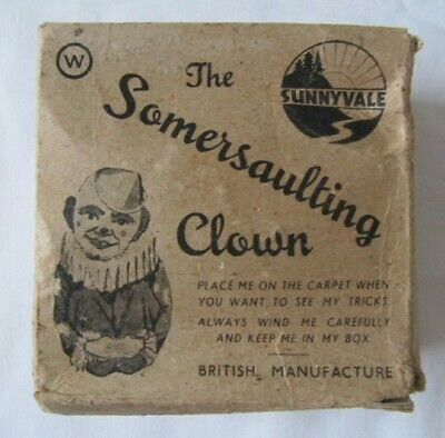 Vintage Sunnyvale Somersaulting Clown Tin Plate Toy British Made Box Key 1920's • 39.99£