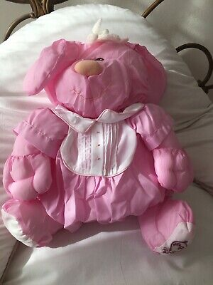 Vintage 1986 Fisher Price Plush Pink Puffalump, Pink Pig In Romper • 20£