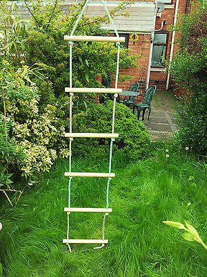 New Wooden Rope Ladder Swing 6 Rungs Natural Wood  • 13.99£