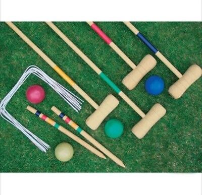 Croquet Set 4 Player Complete Wooden Outdoor Garden Mallet Balls Toy Fun New • 324.99£