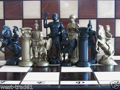 Brand New ♚  Weighted Roman Design Chess Pieces Set ♞ • 28.89£