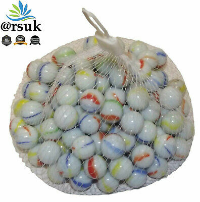 80 PCs HI-QUALITY MILKY Coloured MARBLES Kids Glass Toys Traditional Games Party • 4.99£
