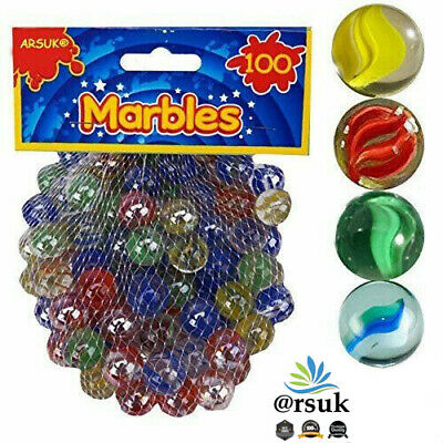 Coloured Glass Marbles Kids Traditional Toys Classic Retro Gift Game Party 100pc • 6.10£