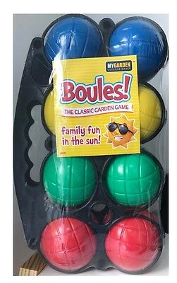 8 Pc Plastic French Boules Game Pentanque Balls Carry Case Fun Garden Games • 17.99£