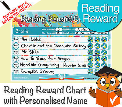 Reading Reward Chart Personalised Childrens Chart Dry Wipe Pen & Magnetic Mounts • 6.99£