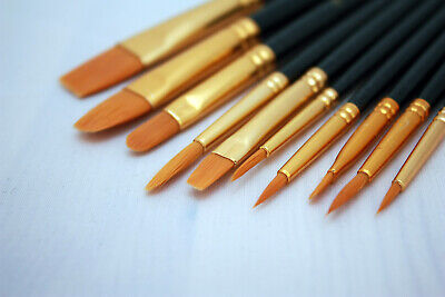 Model Paint Brushes Set 10pc  - Fine Detail Synthetic Hair - Hobby Wargaming • 3.99£