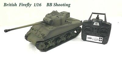 Radio Remote Controlled RC Tank 2.4G British Sherman Firefly 1/16 With 4 Sounds  • 299.99£