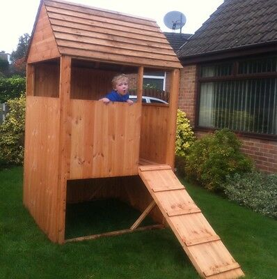 4x4 Wooden Children's Playhouse Tower Stockade Fort Treated Timber Kids Play Den • 341.60£