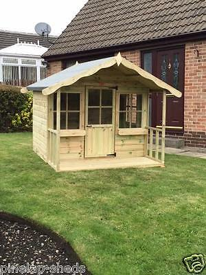 6x6 Childrens Wooden Playhouse Kids Apple Tree Cottage Tanalised T&G Den • 485£