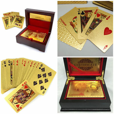 24k Pure Gold Plated Playing Cards Full Poker Pub Game Deck Wooden Gift Box Set • 6.95£