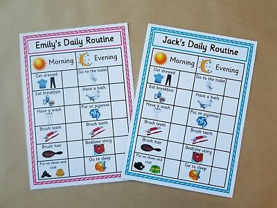 Daily Routine Chart, Personalised Reward Chart, Reusable, EYFS, SEN, Autism • 2£