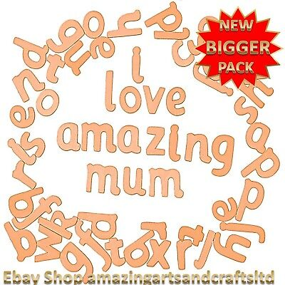 70 Wooden Letters Alphabet Lowercase Craft Educational Font Set Crafts • 6£
