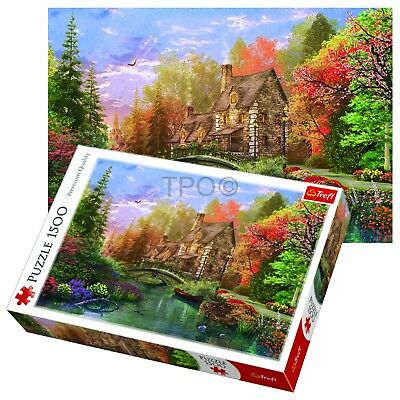 Trefl 1500 Piece Adult Lake Cottage Scenery Grass Trees Large Jigsaw Puzzle NEW • 9.99£
