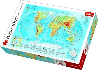 Trefl 1000 Piece Adult Large Physical Map Of The World Jigsaw Puzzle NEW • 10.99£