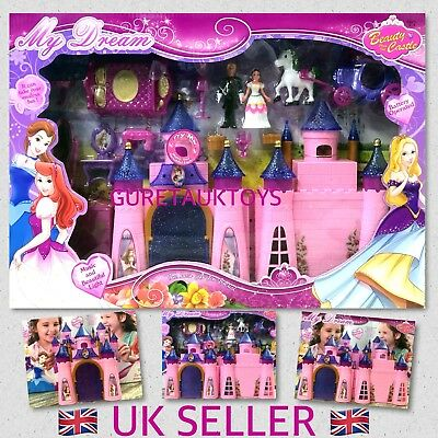 Pink Princess Musical Castle Play Set Light Music For Girls Toy Great Gift Idea  • 14.99£
