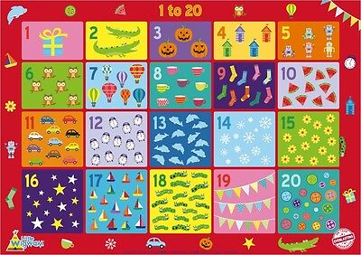 Numbers 1 To 20 Poster A2 Educational Children Kids No Tear By Little Wigwam • 5.95£