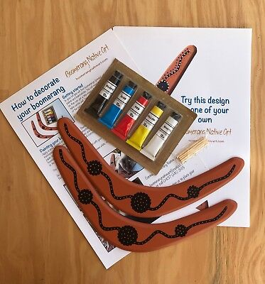 Australian Made Paint Your Own Boomerangs - Pack Of 2 Boomerangs With Paints Etc • 7.86£