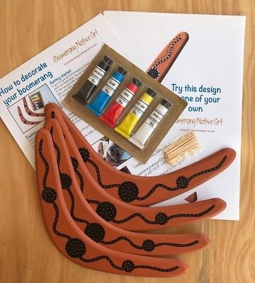 Boomerang-Australian Made Paint Your Own Timber Boomerang - Pack Of 4+paint Etc • 11.25£