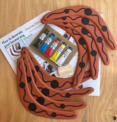 Australian Made Paint Your Own 29cm Boomerang - Pack Of 8 Boomerangs • 16.73£