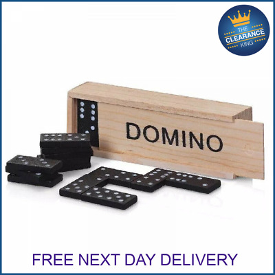 Kids Wooden Box Dominoes Set Toy Traditional Classic Children 28 Domino Kids Fun • 3.99£
