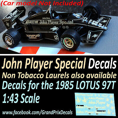 Formula 1 Car Collection LOTUS 97T 1985 JPS Water Slide Decals 1:43 Scale F1 IXO • 4.90£