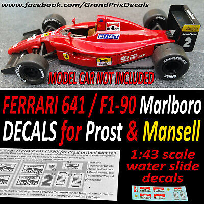 Ferrari 641 F1 90 Marlboro Water Slide DECALS For Prost & Mansell 1/43 Scale IXO • 4.10£