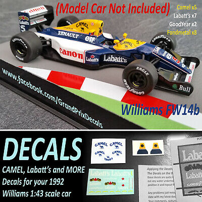 F1 Car Collection Williams FW14B Decals Labatts Camel F1 1:43 Mansell IXO • 3.90£