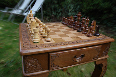 Hand Carved Chess Table And Figures - Authentic Solid Walnut Wood • 250£