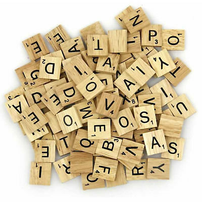 100-200 Wooden Tiles Black Letters Numbers For Crafts Wood Alphabets* Scrabble • 12.97£