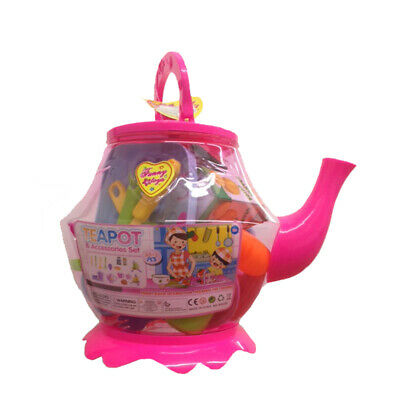 Large Plastic Teapot Toy Tea Set Role Play 25+1 Pcs Kids Children • 12.99£