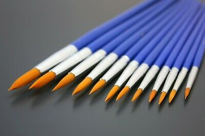 Paint Brushes Set All Round Tips 12pc - Size 1 To 12 - Artist Model Hobby Craft  • 3.99£