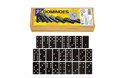Classic Domino Set In Wooden Box 28 Black & White Dominoes • 3.95£