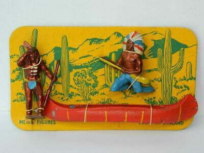 CRESCENT TOYS VINTAGE 1950s WILD WEST CARDED LEAD NORTH AMERICAN INDIAN IN CANOE • 50.99£