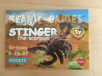 Ty Beanie Babies Rookie Card Series 1 - Silver - Stinger The Scorpion 4193 • 2£