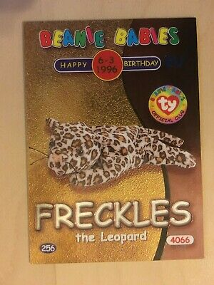 Ty Beanie Babies Birthday Card Series 2 - Silver - FRECKLES • 2£
