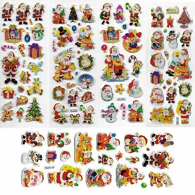 Christmas Decorations 3D Puffy Stickers 5 Sheets Party Favors Loot Bag Stocking • 2.49£