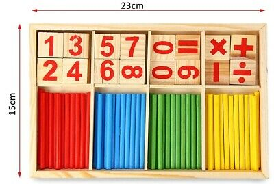 UK Wooden Math Counting Blocks Sticks Educational Learning Abacus Kids Toys Gift • 5.90£