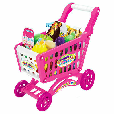 Childrens Shopping Trolly Cart Play Food Kids Pretend Shop Push Along Toy 56pcs • 13.01£