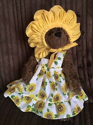 "Ty Susannah Sunflower Bear Jointed Soft Plush Toy In Dress & Bonnet 6-9"" Attic • 7.99£"