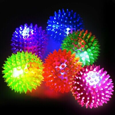 4 X Flashing LED Light Up Spikey Balls - Sensory Autism Massage Yoga Stress • 6.99£