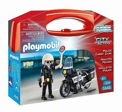 Playmobil City Action Police Officer + Motorcycle Figures Collectable Carry Case • 10.38£