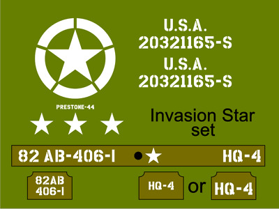 1/6th Scale Jeep Invasion Star Jeep Stencil Set Suit Dragon Model Kit. • 14.99£