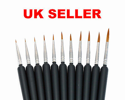 Model Paint Brushes Set 11pc - 00000 To 7 - Fine Detail - Hobby Wargaming • 5.33£
