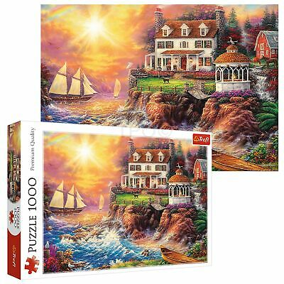 Trefl 1000 Piece Adult Large Peaceful Haven Cliff Scene Sea Ships Jigsaw Puzzle • 7.99£