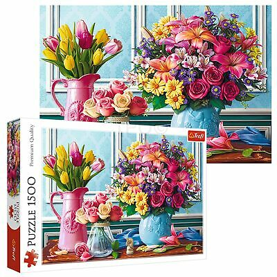 Trefl 1500 Piece Adult Large Fresh Flowers In Vases Roses Tulips Jigsaw Puzzle • 10.49£