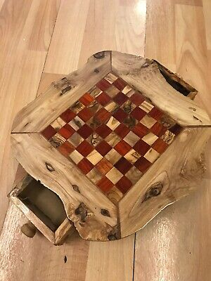 New Red Small Handmade Chessboard Olive Wood Rough Edges With Pieces • 28£