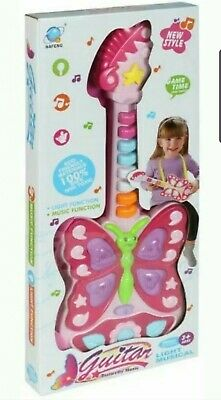 PRINCESS KIDS PINK BUTTERFLY Guitar Toy  Instrument With Light Music X-mas Gift • 9.99£