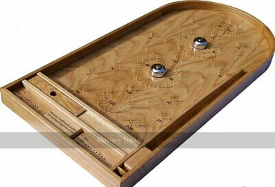 Luxury Handmade Oak Bagatelle Game With Bells And Plunger • 279.99£
